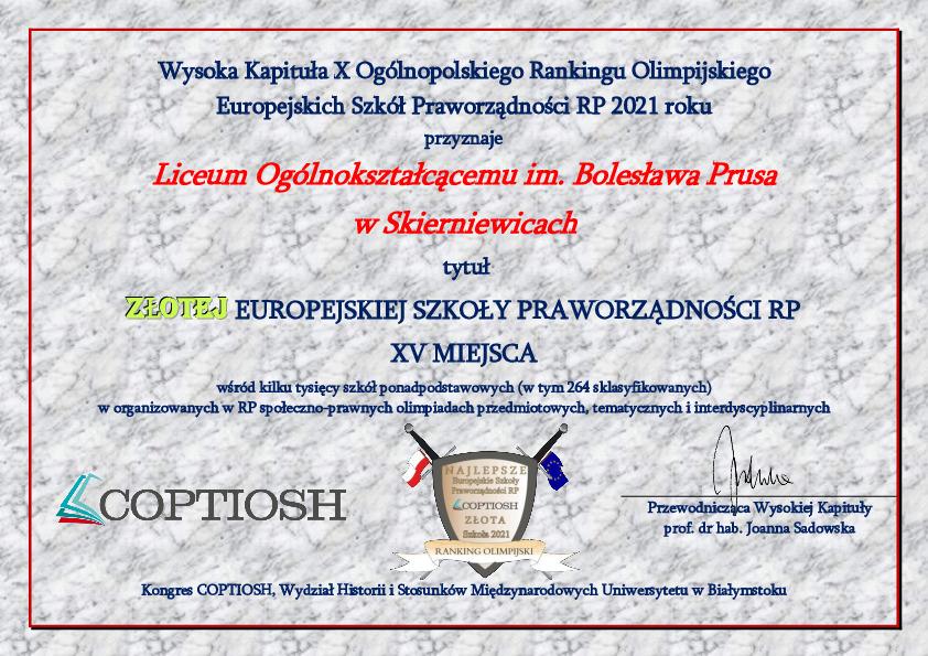 Dyplom Złota Europejska Szkoła Praworządności RP - XV miejsce (2021)